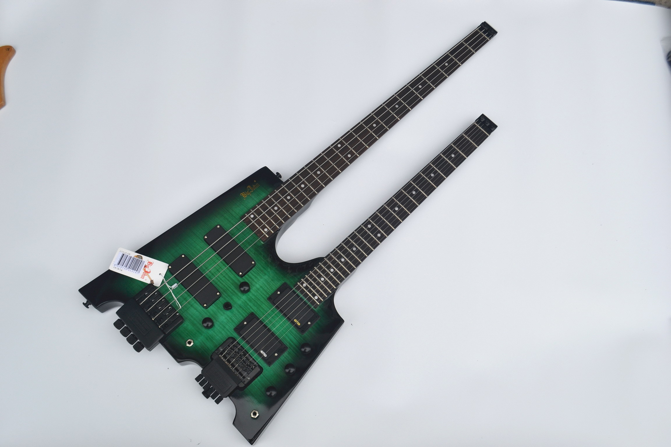 free shipping double neck headless basswood body green color el