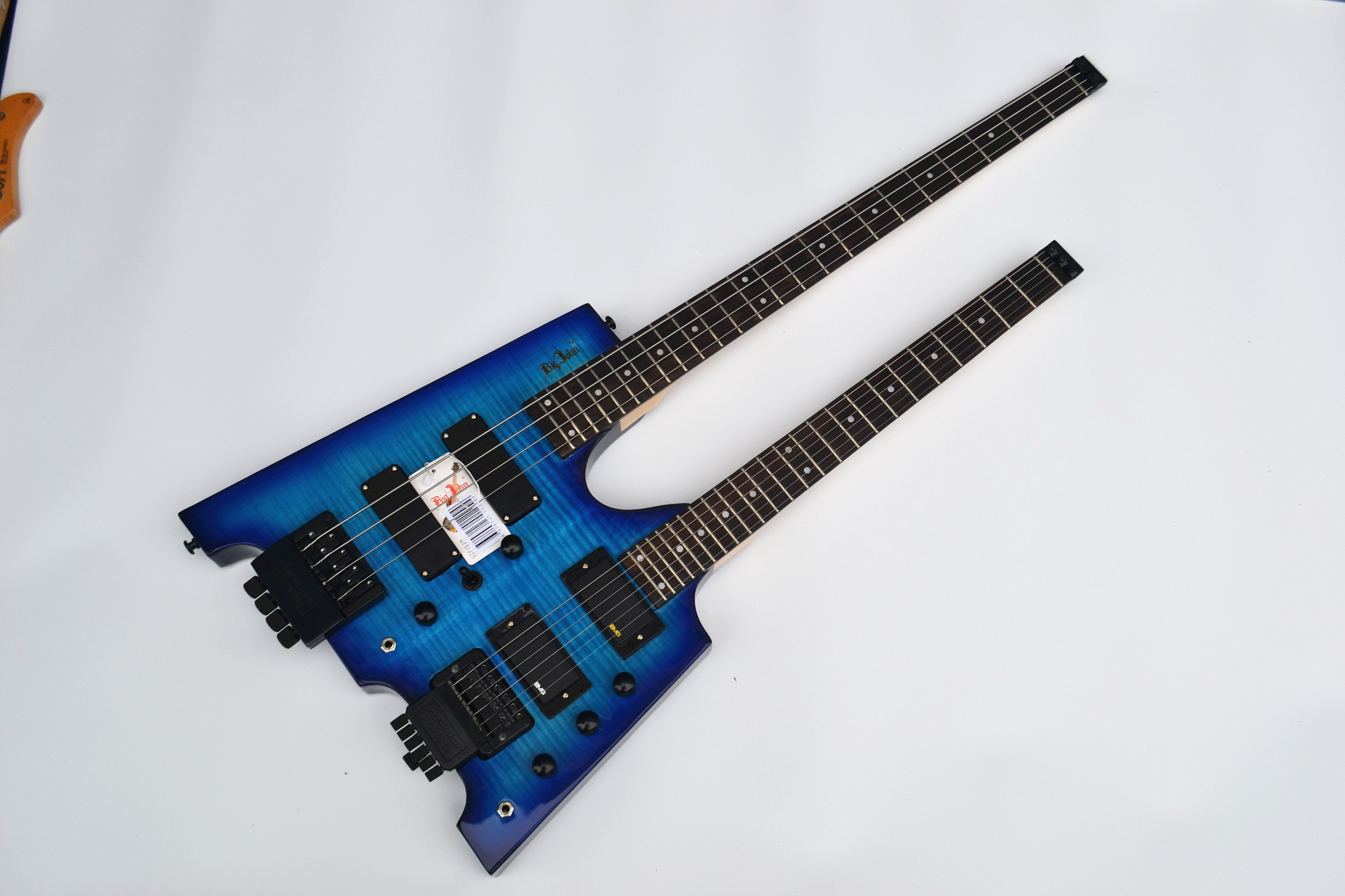 free shipping double neck headless basswood body blue color ele